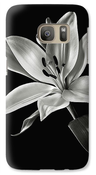 Galaxy Case featuring the photograph Yellow Tiger Lily In Black And White by Endre Balogh