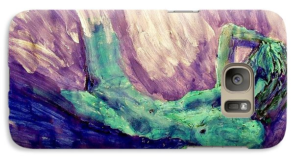 Galaxy Case featuring the painting Young Statue Of Liberty Falling From Grace Female Figure Portrait Painting In Green Purple Blue by MendyZ M Zimmerman