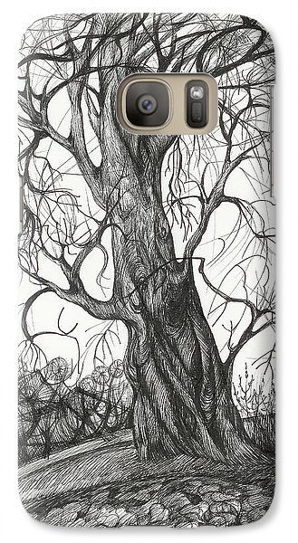 Galaxy Case featuring the drawing  Autumn Dancing Tree by Anna  Duyunova