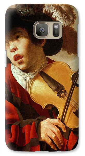 Boy Playing Stringed Instrument And Singing Galaxy S7 Case by Hendrick Ter Brugghen
