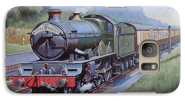 Galaxy Case featuring the painting  Castle Class In Sonning Cutting by Mike  Jeffries