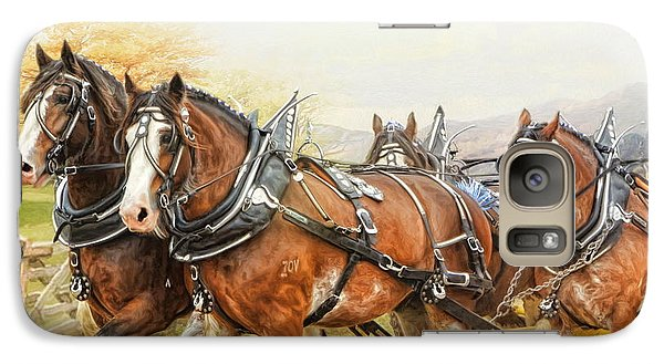 Galaxy Case featuring the digital art  Clydesdales In Harness by Trudi Simmonds