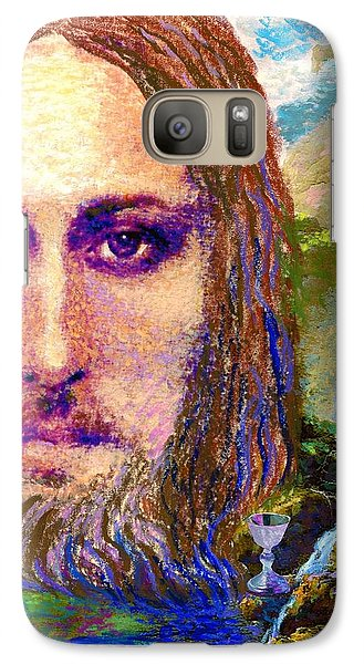 Galaxy Case featuring the painting  Contemporary Jesus Painting, Chalice Of Life by Jane Small