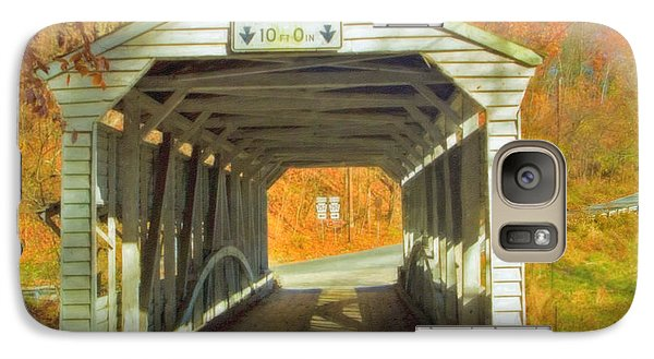 Galaxy Case featuring the photograph  Covered Bridge Watercolor  by David Zanzinger