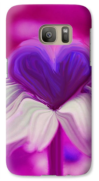 Galaxy Case featuring the photograph  Flower Heart by Linda Sannuti