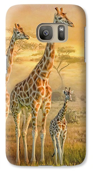Galaxy Case featuring the digital art  Giraffe Family by Trudi Simmonds