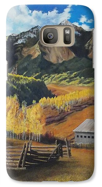 Galaxy Case featuring the painting  I Will Lift Up My Eyes To The Hills Autumn Nostalgia  Wilson Peak Colorado by Anastasia Savage Ealy