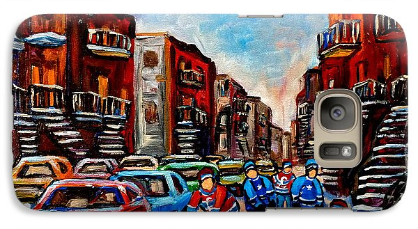 Galaxy Case featuring the painting  Late Afternoon Street Hockey by Carole Spandau