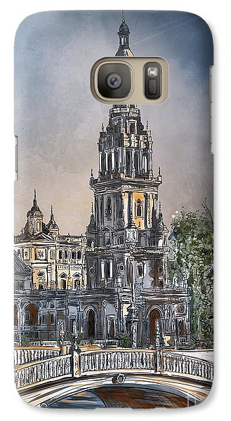 Galaxy Case featuring the painting  Plaza De Espana In Seville by Andrzej Szczerski