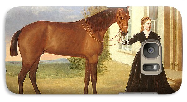 Portrait Of A Lady With Her Horse Galaxy Case by English School