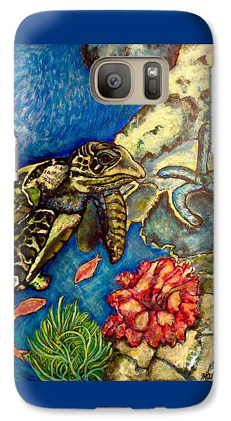 Galaxy Case featuring the painting  Sweet Mystery Of The Sea A Hawksbill Sea Turtle Coasting In The Coral Reefs Original by Kimberlee Baxter
