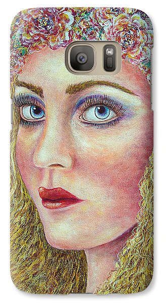 Galaxy Case featuring the painting   The Flower Girl by Natalie Holland