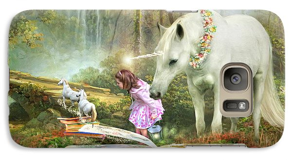 Galaxy Case featuring the digital art  The Unicorn Book Of Magic by Trudi Simmonds
