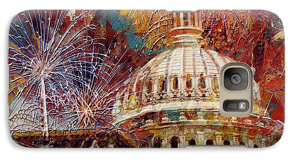 Capitol Building Galaxy S7 Case - 070 United States Capitol Building - Us Independence Day Celebration Fireworks by Maryam Mughal