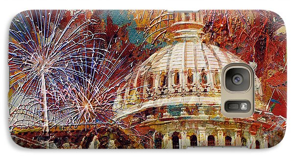 070 United States Capitol Building - Us Independence Day Celebration Fireworks Galaxy Case by Maryam Mughal