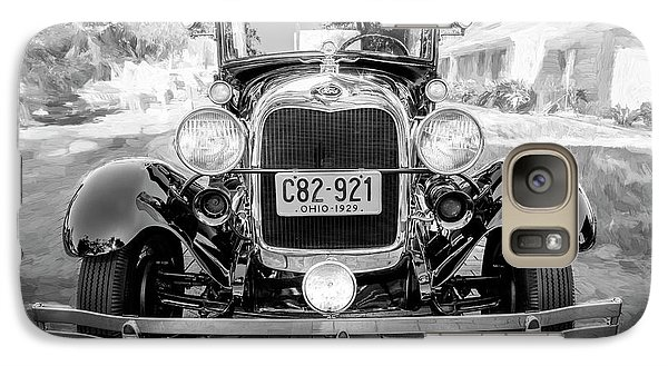 Galaxy Case featuring the photograph 1929 Ford Model A Tudor Police Sedan Bw by Rich Franco