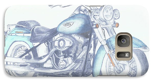 Galaxy Case featuring the drawing 2015 Softail by Terry Frederick