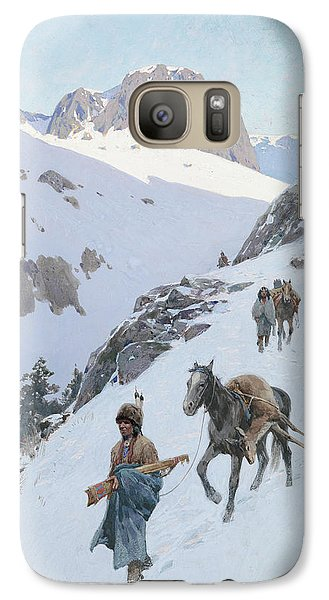 Galaxy Case featuring the drawing A Successful Hunt by Henry Francois Farny