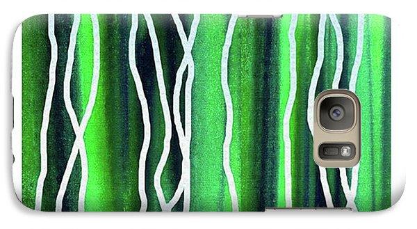 Galaxy S7 Case - Abstract Lines On Green by Irina Sztukowski