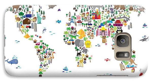 Animal Map Of The World For Children And Kids Galaxy Case by Michael Tompsett