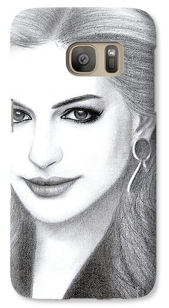 Galaxy Case featuring the drawing Anne Hathaway by Eliza Lo