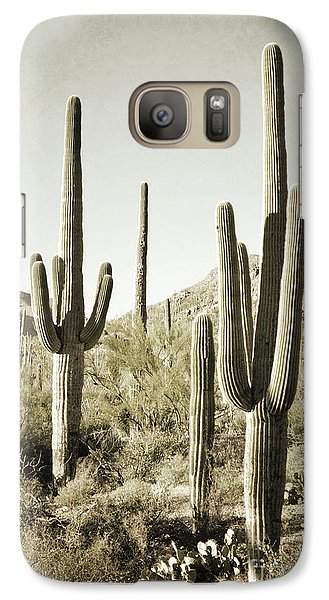 Galaxy Case featuring the photograph Arizona Cactus Pair Desert by Andrea Hazel Ihlefeld
