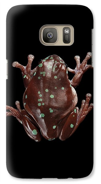 Australian Green Tree Frog, Or Litoria Caerulea Isolated Black Background Galaxy S7 Case by Sergey Taran