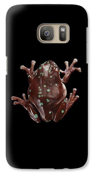 Australian Green Tree Frog, Or Litoria Caerulea Isolated Black Background Galaxy S7 Case