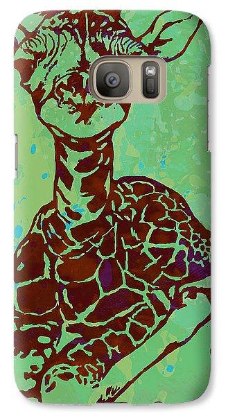 Baby Giraffe - Pop Modern Etching Art Poster Galaxy S7 Case by Kim Wang