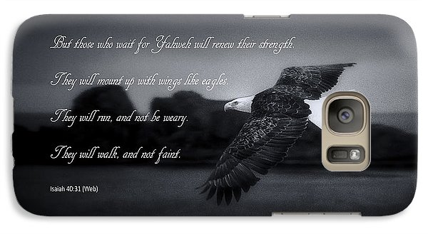 Galaxy Case featuring the photograph Bald Eagle In Flight With Bible Verse by John A Rodriguez