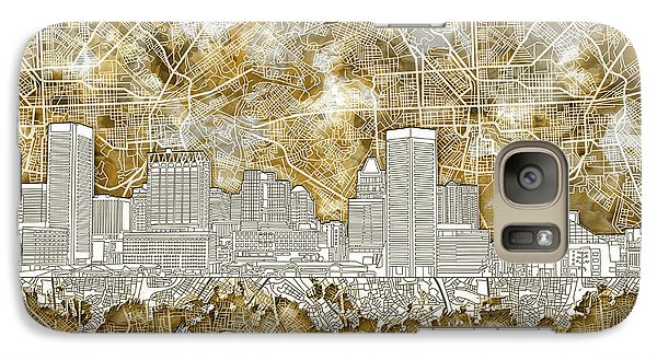 Galaxy Case featuring the painting Baltimore Skyline Watercolor 13 by Bekim Art