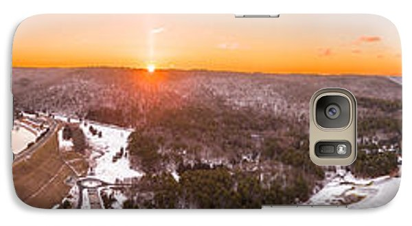 Galaxy Case featuring the photograph Barkhamsted Reservoir And Saville Dam In Connecticut, Sunrise Panorama by Petr Hejl