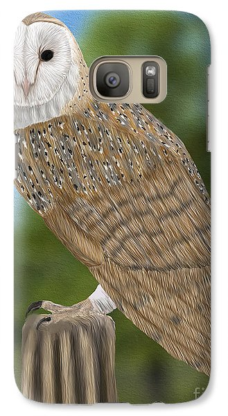 Galaxy Case featuring the digital art Barn Owl by Walter Colvin