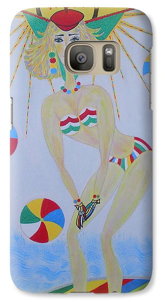 Galaxy Case featuring the painting Beach Ball Surfer by Marie Schwarzer