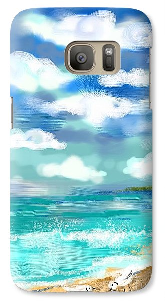 Galaxy Case featuring the digital art Beach Birds by Elaine Lanoue