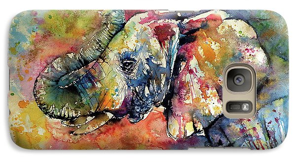 Animals Galaxy S7 Case - Big Colorful Elephant by Kovacs Anna Brigitta