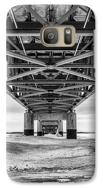 Galaxy Case featuring the photograph Black And White Mackinac Bridge Winter by John McGraw