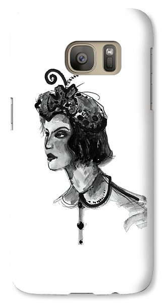 Galaxy Case featuring the mixed media Black And White Watercolor Fashion Illustration by Marian Voicu