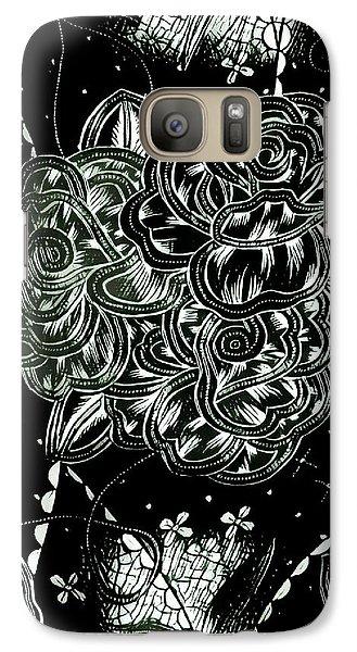 Black Flower Galaxy S7 Case