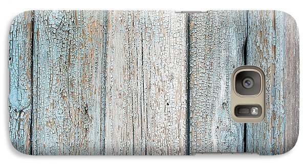 Galaxy Case featuring the photograph Blue Fading Paint On Wood by John Williams