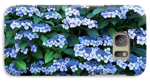 Galaxy Case featuring the photograph Miksang 12 Blue Hydrangea by Theresa Tahara