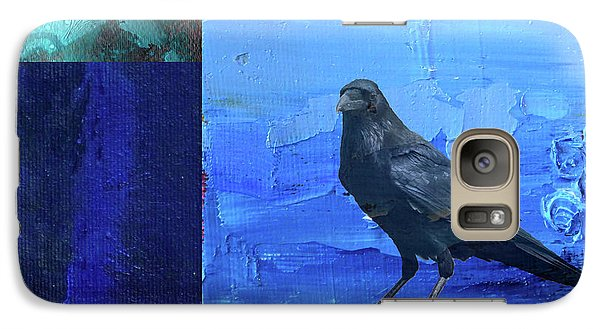 Galaxy S7 Case featuring the digital art Blue Raven by Nancy Merkle
