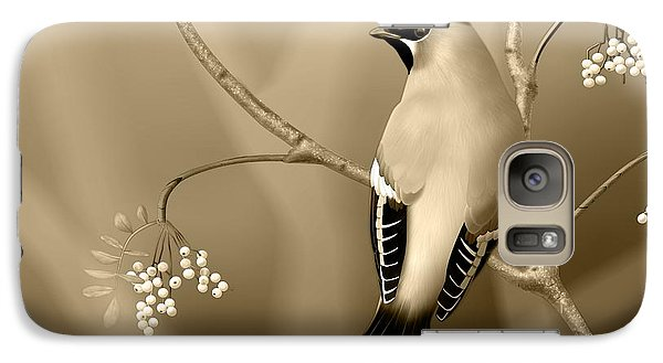 Galaxy Case featuring the digital art Bohemian Waxwing In Sepia by John Wills