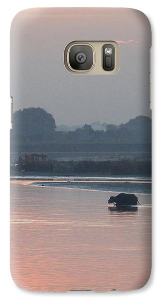 Galaxy Case featuring the photograph Buffalos Crossing The Yamuna River by Jean luc Comperat