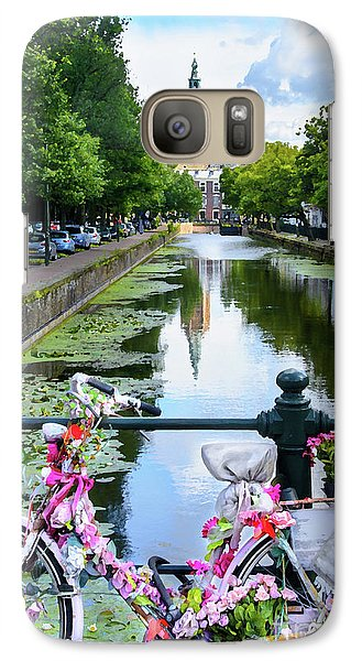 Galaxy Case featuring the digital art Canal And Decorated Bike In The Hague by RicardMN Photography