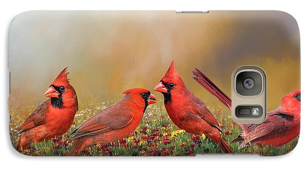 Galaxy Case featuring the photograph Cardinal Quartet by Bonnie Barry