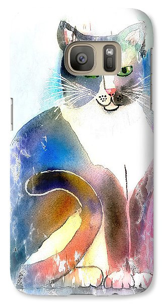 Galaxy Case featuring the mixed media Cat Of Many Colors by Arline Wagner