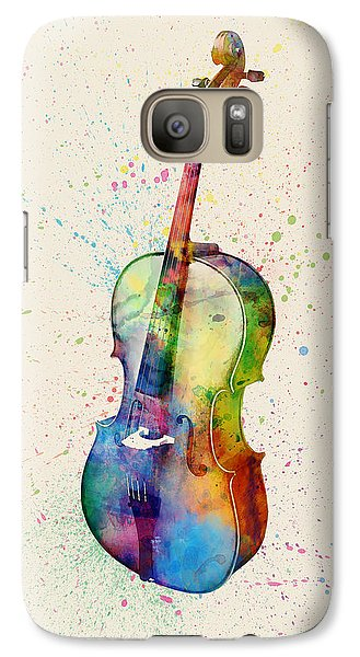 Violin Galaxy S7 Case - Cello Abstract Watercolor by Michael Tompsett