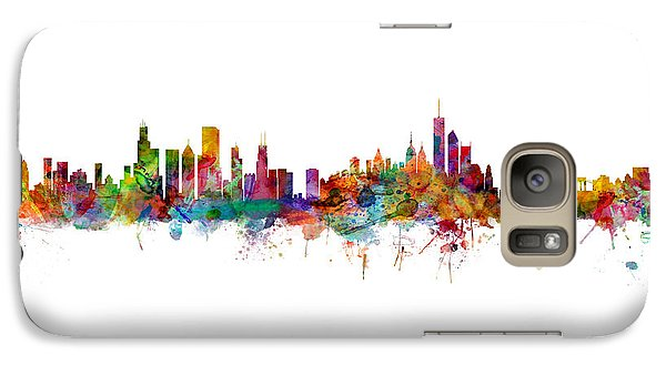 Chicago Skyline Galaxy S7 Case - Chicago And New York City Skylines Mashup by Michael Tompsett