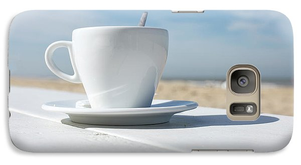 Galaxy Case featuring the photograph Coffee On The Beach by Patricia Hofmeester